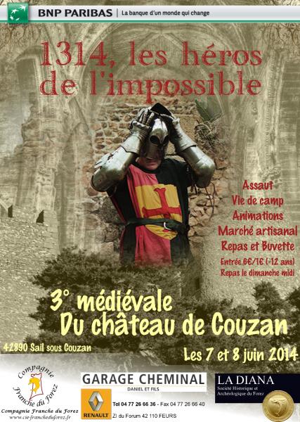 Compagnie Franche du Forez.  3° médiévale de Sail sous Couzan les 7 et 8 juin 2014